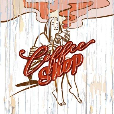 Obraz Sklep z kawą dziewczyny rysunek na drewnianym tle