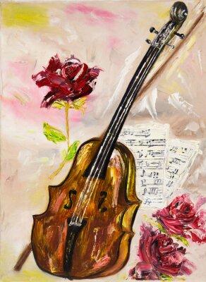 Obraz Skrzypce i róże