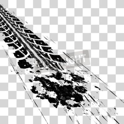 Obraz Ślady opon. Wektorowego ilustracyjnego onon w kratkę tło