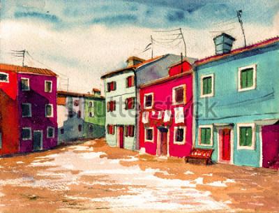 Obraz Sławnej Wenecja Włoskiej wyspy jaskrawy barwiony dom akwareli obrazu okładkowej grafiki ręki plakatowy rysujący ręka rysujący tło kanwy