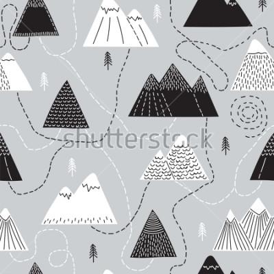 Obraz Śliczna ręka przedstawiona wzorem wzoru z góry i górami. Twórczy skandynawski las tło. Las. Stylowy szkic. Ilustracji wektorowych