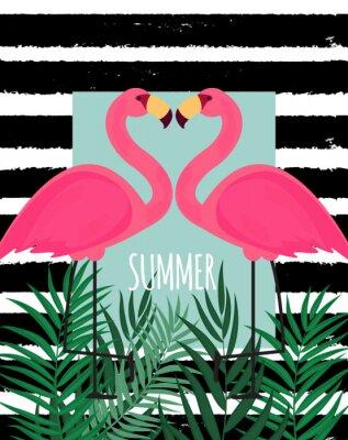 Obraz Śliczna Różowa flaminga lata tła wektoru ilustracja