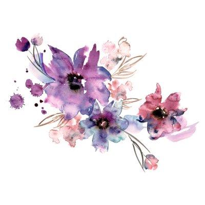 Obraz Śliczne akwarela ręcznie malowane kwiaty. Zaproszenie. Kartka ślubna. Kartka urodzinowa.