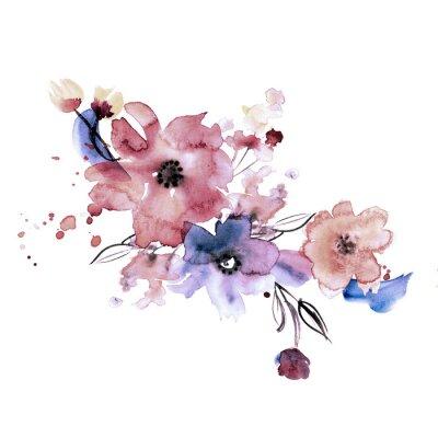 Obraz Śliczne Akwarele ręcznie malowane kwiaty. Zaproszenie. Kartka ślubna. Kartka urodzinowa.