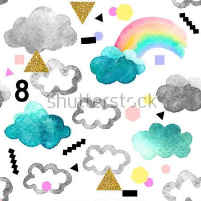 Obraz Śliczne chmury akwarela z elementami tęczy i złoto świecidełka. Bezszwowy wzór z akwarela przedmiotami odizolowywającymi na białym tle dla twój projekta: tkanina, tkanina, pocztówka.