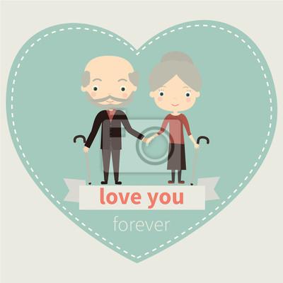 Obraz Śliczne stare para zakochanych. Ilustracja wektora. Valentine karty