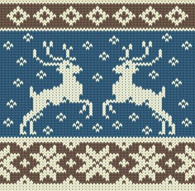 Obraz Śliczne tło z dwóch drutach reniferów i płatki śniegu