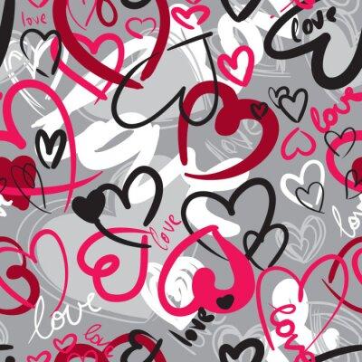 Obraz Śliczne Walentynki bez szwu wzór z serca
