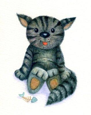 Obraz Śliczny kotek, akwarela.