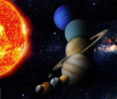 Obraz Słońce i dziewięć planet naszego systemu orbit