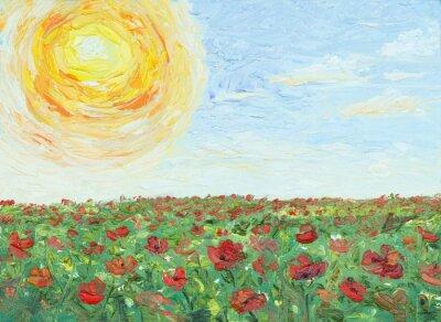 Obraz Słońce nad maku, malarstwo, olej na płótnie