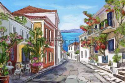 Obraz słoneczne wybrzeże w Grecji. malowane ręce.
