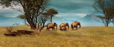 Obraz Słonie afrykańskie, 3D CG
