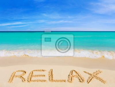 Słowo Relaks na plaży