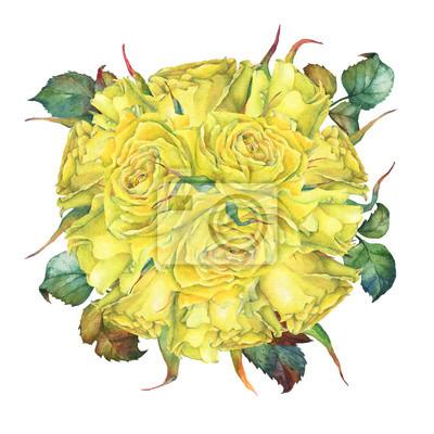 Ślub bukiet z róż żółty. Ręcznie rysowane akwarela na białym tle.