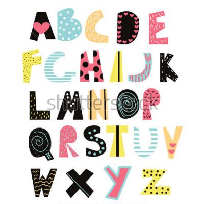 Obraz Śmieszne czcionki dla dzieci. Ładny alfabet dla edukacji lub wystrój. Wektorowa ręka rysująca ilustracja.