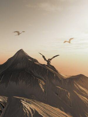 Obraz Smok Szczyt at Sunset, ilustracji fantasy