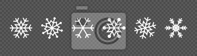 Obraz Snowflake set on isolated background. Winter pattern snow ornament vector design. Frost background. Christmas icon. Vector illustration