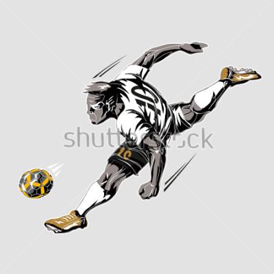 Obraz Soccer player power kick