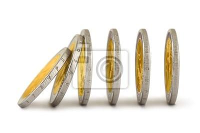 Spadające monet, takie jak domino
