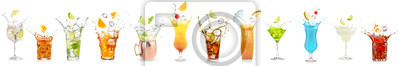 Obraz splashing cocktails collection isolated on white background