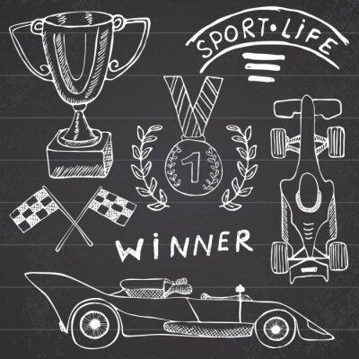 Obraz Sporty samochodowe elementy przedmioty doodles. Wyciągnąć rękę zestaw z ikony flag. Checkered flagi wyścigowe lub Pierwsze miejsce Puchar nagroda. Medal i drapanie samochód, ilustracja wyścig wektorow