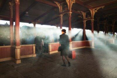 Obraz stacja kolejowa retro i dym pociągu