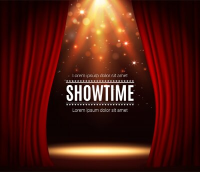 Obraz Stage with red curtains, theater scene vector background with spotlight illumination and sparkles. Showtime poster for performance, music show or concert with realistic 3d red curtains and light glow