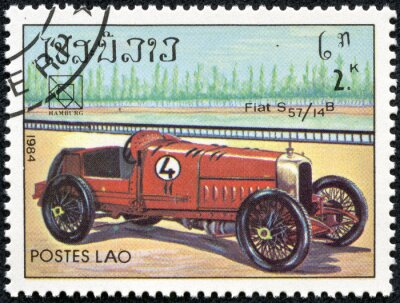Obraz stamp printed in Laos featuring a vintage Fiat S57 sports car
