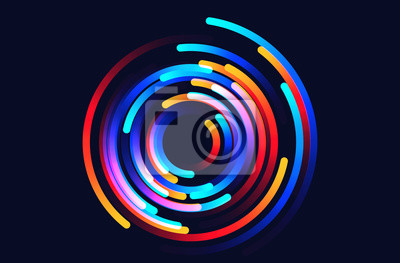 Obraz Star trails vector background illustration made up of colored gradient lines
