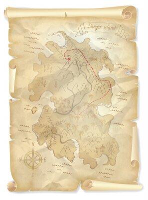 Obraz Stara mapa skarbu piratów wyspa z zaznaczonym miejscu, ilustracji wektorowych