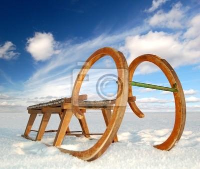 stare drewniane sanki