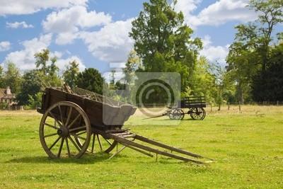 Stare drewniane wagony w łąki gospodarstwa w Wersalu