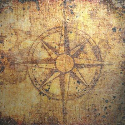 Obraz Stare kompas na papierze tle