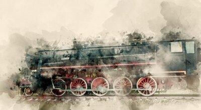 Obraz Stare lokomotywy parowe XX wieku. Tła akwarela