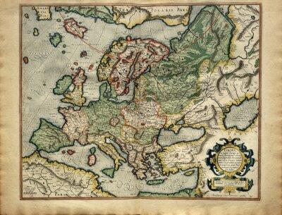 Obraz Stare mapy Europy, wydrukowany w 1587 roku przez Mercator