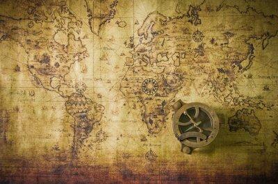Obraz stare mapy z kompasem