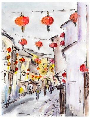Obraz Stare miasto ulicy w Chinach, tradycyjny chiński czerwone latarnie
