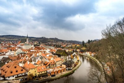 Obraz Stare miasto Widok z Cesky Krumlov zamku w pochmurny dzień