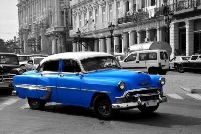 Obraz Stare niebieskie amerykański samochód w Hawanie, na Kubie