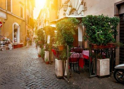 Obraz Stare ulicy w dzielnicy Trastevere w Rzymie, Włochy