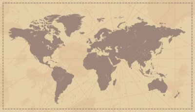 Obraz Stare Vintage mapa świata