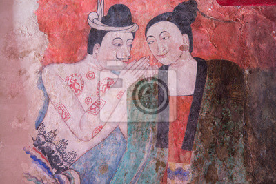Starożytna świątynia buddyjska słynny malarstwa ściennego człowieka szepcząc do ucha kobiety. w Wat Phumin, słynnej świątyni w prowincji Nan, Tajlandia. Świątynia jest otwarta dla publiczności.