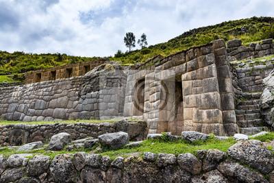 Starożytny ściany Inca w ruinach Tambomachay, w pobliżu Cuzco, Peru