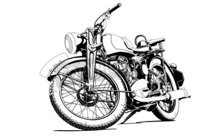 Obraz Stary motocykl ilustracji