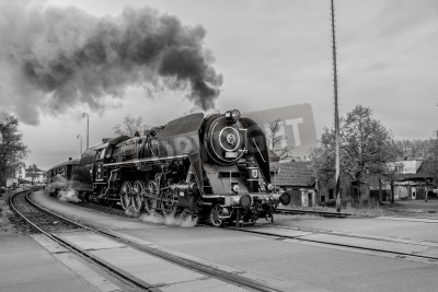 Obraz Stary pociąg parowy w czerni i bieli