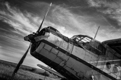 Obraz Stary samolot na polu w czerni i bieli