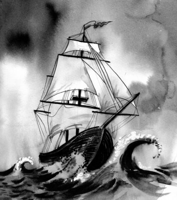 Obraz Stary statek na wzburzonym morzu