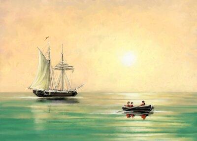 Obraz Statek i łódź, krajobraz morski, obrazy cyfrowe olejowe