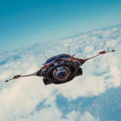 Obraz statek kosmiczny, na błękitnym niebie